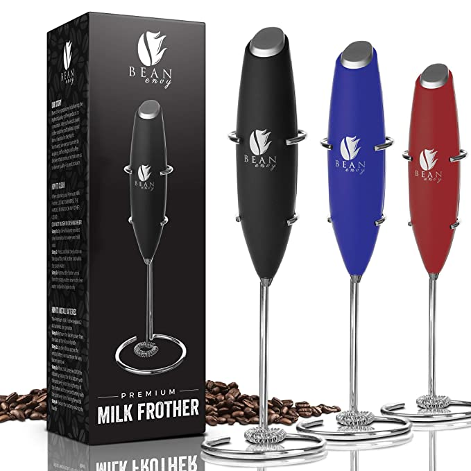 Bean Envy Milk Frother Handheld - Perfect For The Best Latte - Whip Foamer - Includes Stainless Steel Stand - Black best drink stirrer