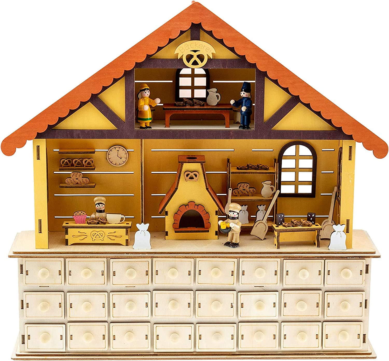 Clever Creations Cozy Bakers House Interior Advent Calendar | Working Drawers to Count Down Days Till Christmas | Perfect Decoration for that Holiday Cheer| Battery Operated | Measures 17