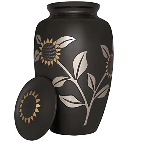 Sunflower Funeral Cremation Urn for Human Ashes by Liliane – Brass – Suitable for Cemetery Burial or Niche – Large for Remains of Adults up to 200 lbs – Miraflores Black and Gold Rose