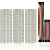 BENGIX Solderless Breadboard 170/400/830 Tie Point Prototype Breadboard for Arduino with 40/80 pcs Dupont wire(M/M) (830 tie points(3pcs)+40pcs dupont wire)