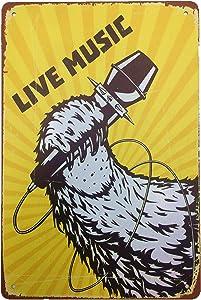 AIQIBAO Metal Vintage Tin Sign Decor Live Music Wall Decor for Movie House Bar Pub Funny Retro Art Sign 12