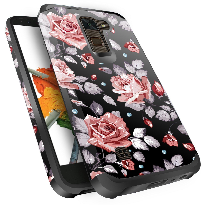 LG Stylo 2 Plus Case, LG Stylus 2 Plus Case, Miss Arts Slim Anti-Scratch Dual Layer Hybrid Sturdy Armor Protective Cover Case for LG Stylo 2 Plus/LG Stylus 2 Plus/K530/MS550 -Rose Gold Flower