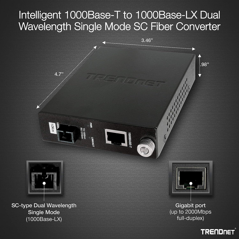 TFC-1000S10D3 Fiber Port TRENDnet Intelligent 1000Base-T to 1000Base-LX Dual Wavelength Single Mode SC Fiber Media Converter Lifetime Protection Fiber to Ethernet Converter RJ-45 10km//6.2miles