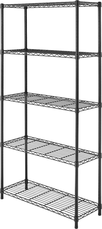 "Whitmor Black Supreme 5 Tier Adjustable Shelves and Leveling Feet, 14"" x 36"" x 72"""