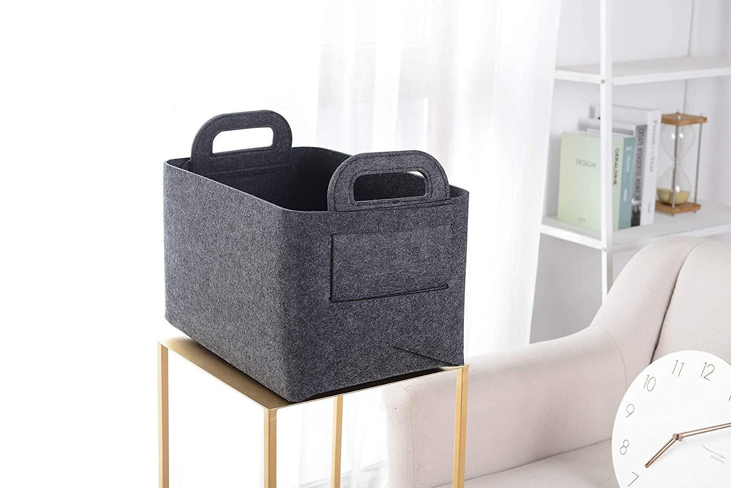 Laundry Xian min lu trade co. Bedroom Closet Collapsible /& Convenient Storage Solution for Office LTD Felt Storage Basket or Bin Size:13.8L/×9.5W/×8.3H Dark Grey, Small Toys