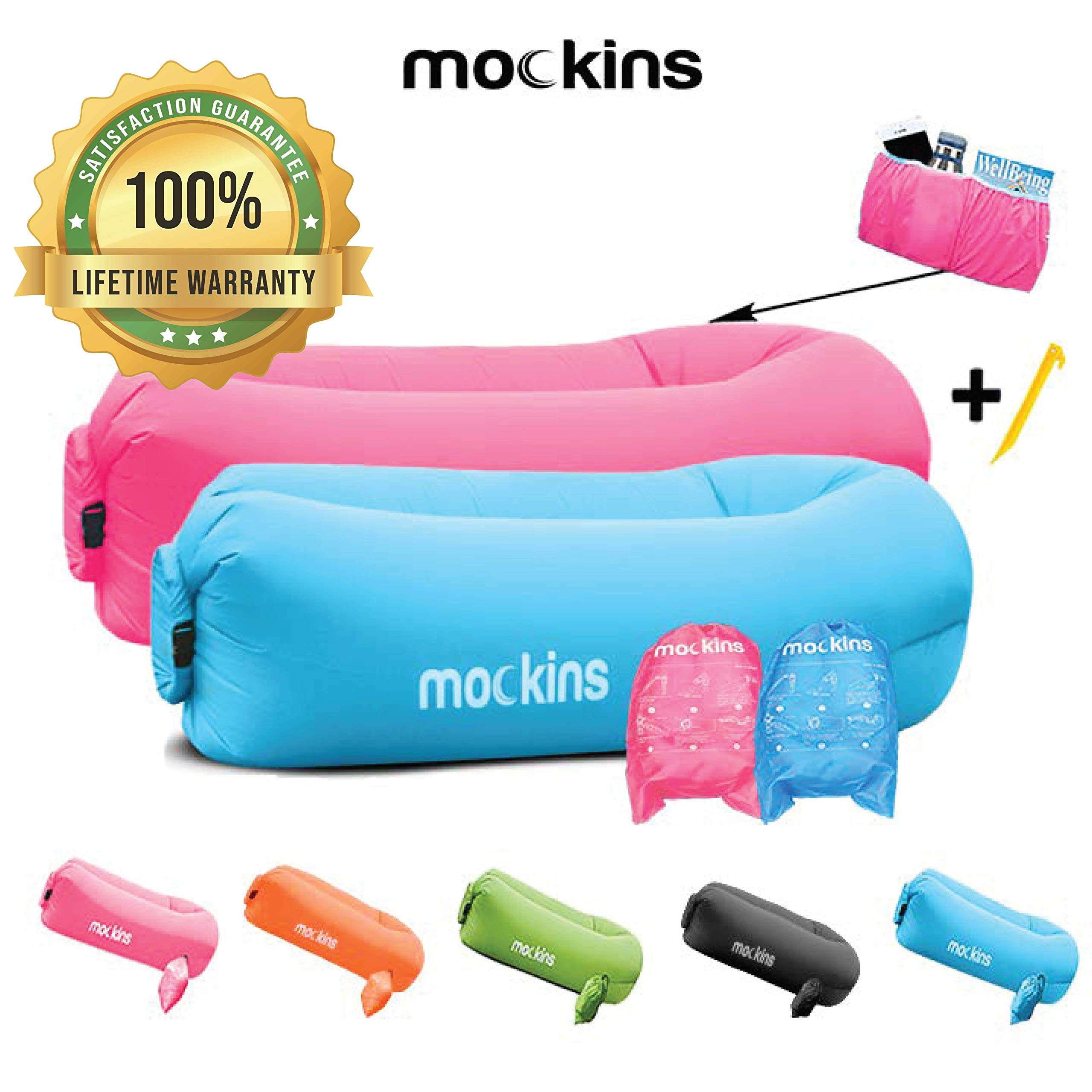 Mockins 2 Pack Inflatable Lounger Air Sofa Perfect for Beach Chair Camping Chairs or Portable Hammock and Includes Travel Bag Pouch and Pockets | Easy to Use Camping Accessories -Blue and Pink Color by Mockins