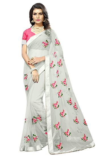 a9e793b871 SilverStar Women's Embroidery Flower Work White Color Full Net Saree With  Blouse Piece: Amazon.in: Clothing & Accessories