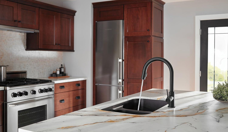 BU delta trinsic kitchen faucet Delta Faucet BL DST Trinsic Single Handle Pull Down Kitchen Faucet Matte Black Amazon com