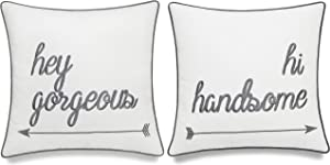 "EURASIA DECOR DecorHouzz Pillowcases Hi Handsome Good Morning Gorgeous Set of 2 Embroidered Pillow Cover Cushion Cover Throw Pillow Decorative Pillow Wedding Couple He and She 18""X18"" (Offwhite)"