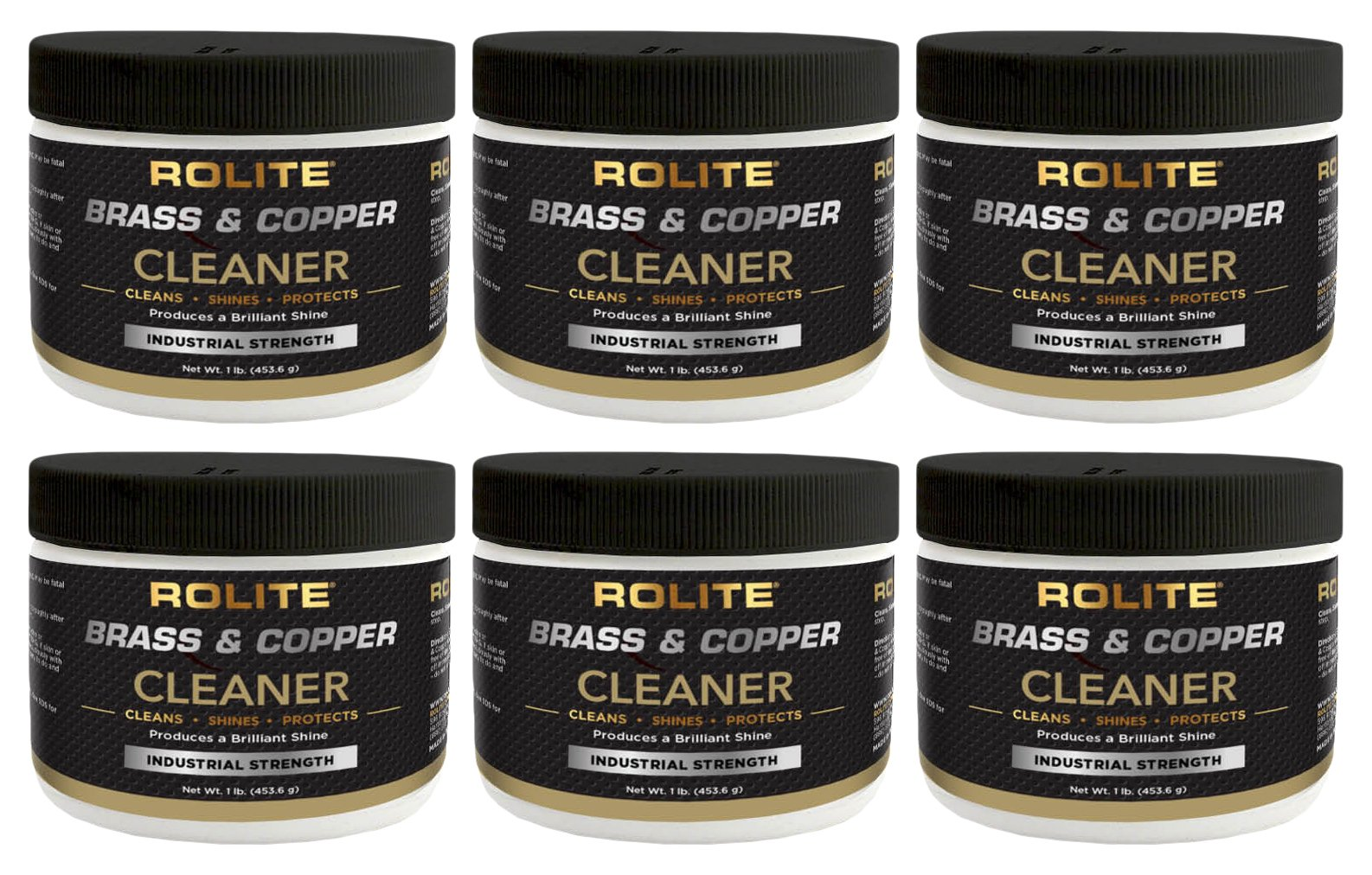 Rolite Brass & Copper Cleaner (1lb) Instant Cleaning & Tarnish Removal on Railings, Elevators, Fixtures, Hotels, Cruise Ships, Buildings 6 Pack
