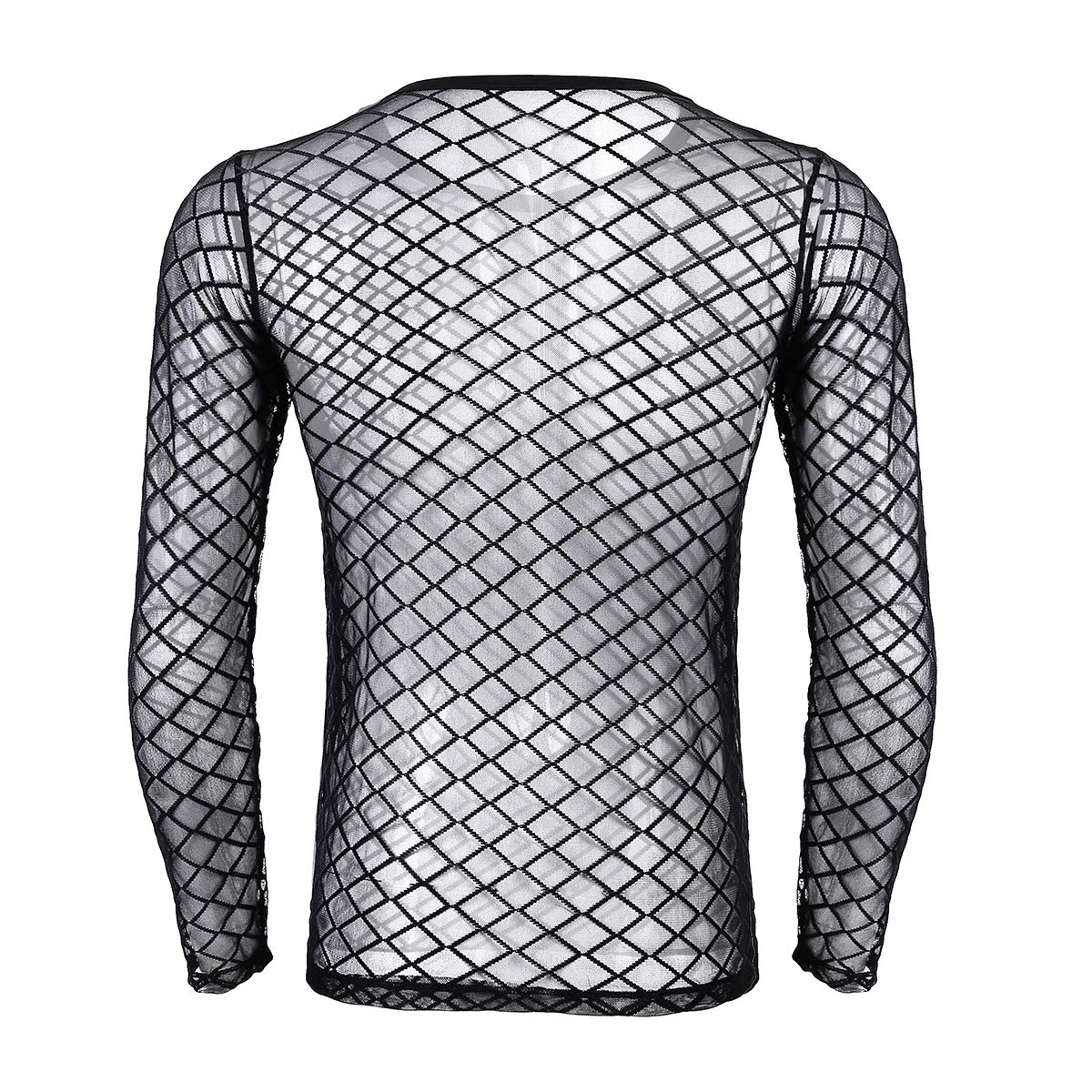 50f9b29559547 inlzdz Men s See Through Mesh Fishnet Long Sleeve Fitted Muscle Tops Club  Wear T-Shirt