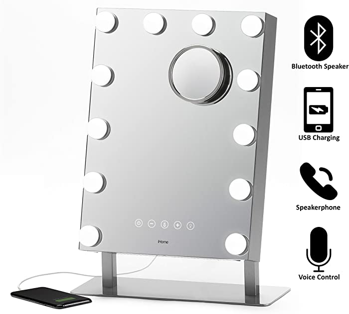 """iHome Hollywood PRO Vanity Mirror 12"""" X 16"""", Vanity Stereo Speaker with Bluetooth, Speakerphone, USB Charging and Magnetic Removable 10X Detail Mirror, Hollywood Mirror with 3 Light Modes iCVBT15"""