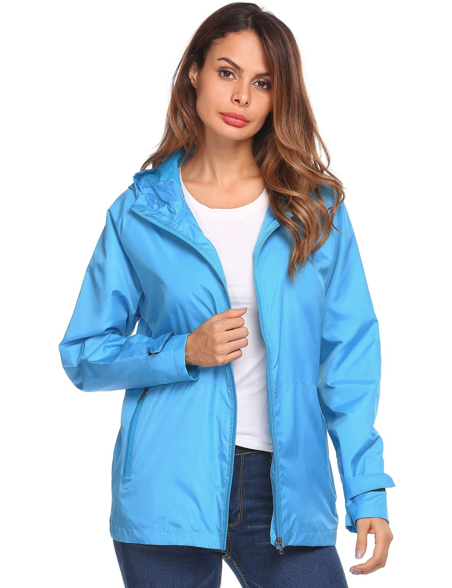 Zeagoo Women's Quick Dry Rain Jacket Lightweight Waterproof Outdoor Hooded Windbreaker Raincoat
