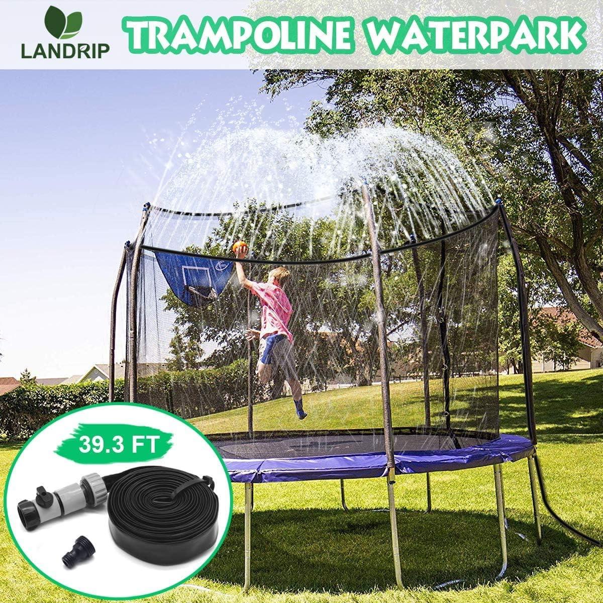 Landrip Rociadores de trampolín para niños, Trampoline Waterpark Water Trampoline Jugar para el Verano Juegos de Agua al Aire Libre Juguetes (39.3 pies)