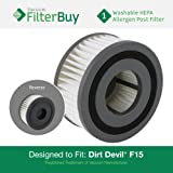 FilterBuy Dirt Devil F15 (F-15) Washable HEPA Replacement Filter, Part # 1-SS0150-000, 3-SS0150-001. Designed by FilterBuy to fit Dirt Devil Extreme Quick Models 084505, 084506, 084507