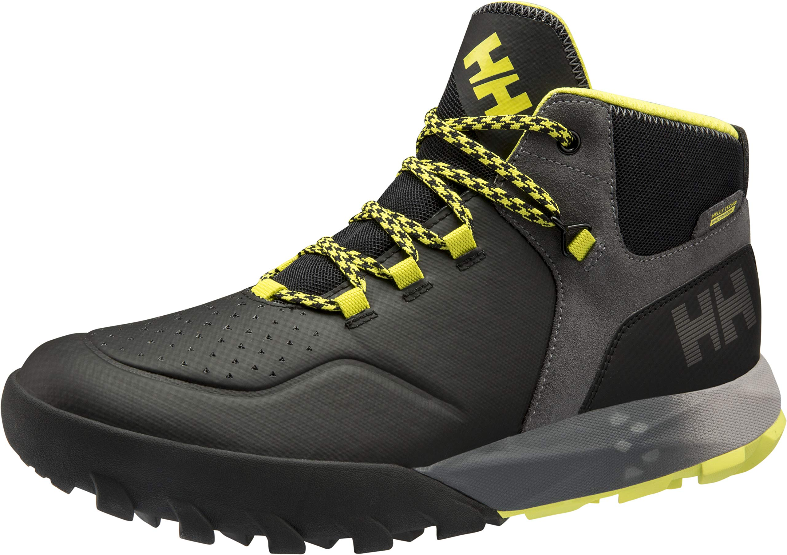 Helly Hansen Men's Loke Rambler Waterproof HT Hiker, Black/Charcoal/Silver Grey/Sweet Lime, 10