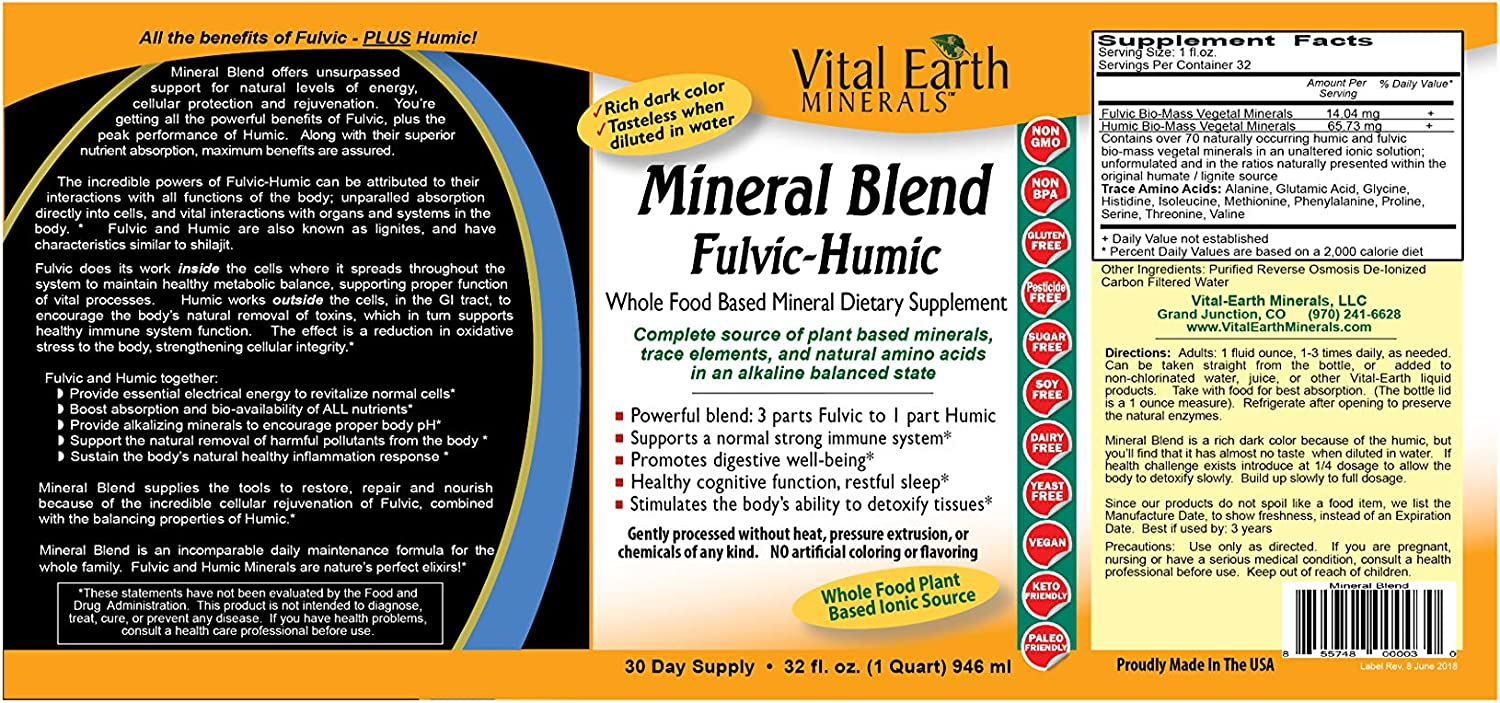 Vital Earth Minerals Mineral Blend Fulvic-Humic -32 Fl. Oz. - 1 Month Supply - Vegan Liquid Ionic Trace Mineral Multimineral Supplement - Almost Tasteless - Whole Food Plant-Based Ionic Minerals: Health & Personal Care
