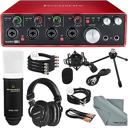 Focusrite Scarlett 18i8 Kit de interfaz de audio USB 2.0 Platinum con condensador de diafragma grande profesional Marantz, micrófono, cables, auriculares de mezcla, paño de limpieza de fibra tique: Amazon.es: Instrumentos musicales