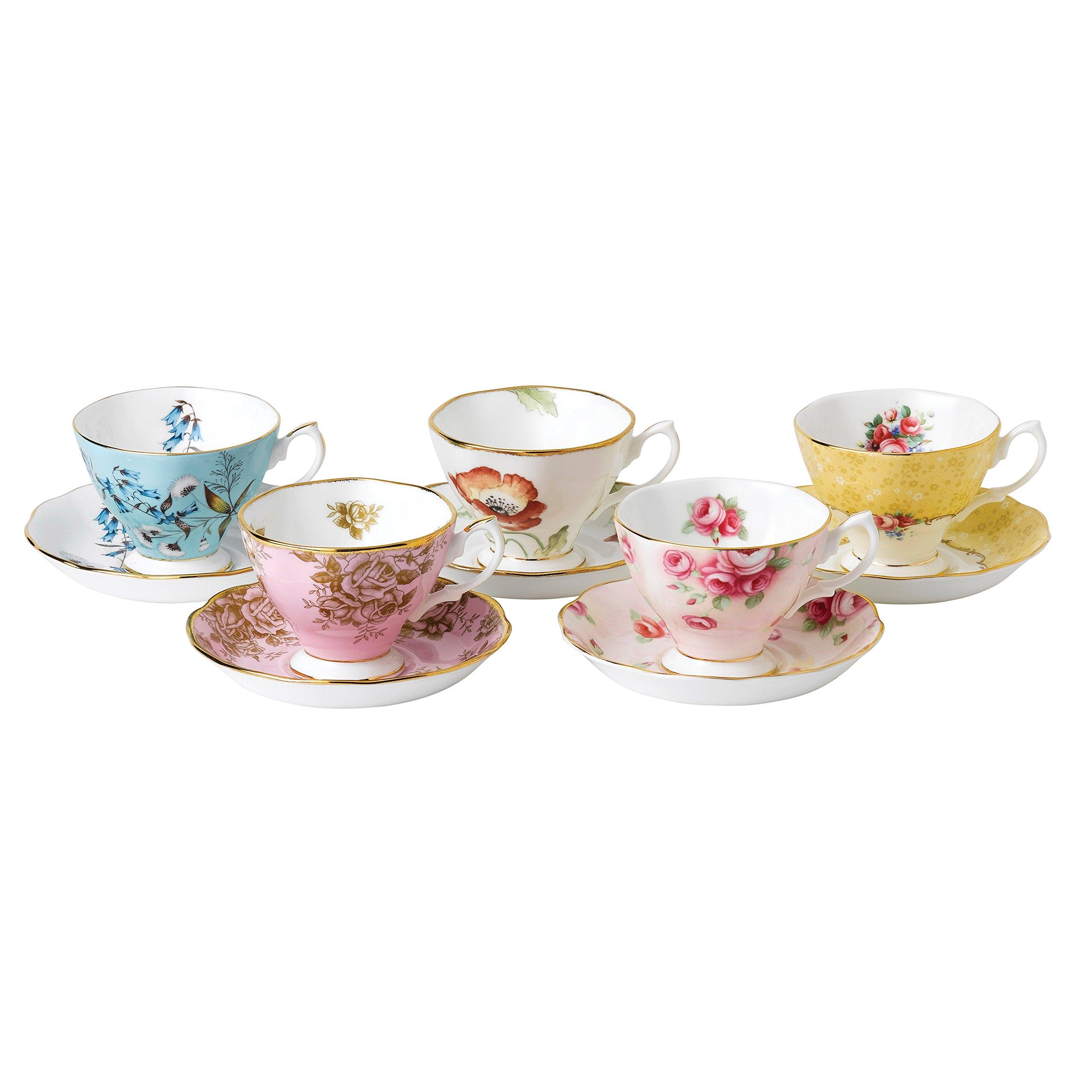 Royal Albert 40017548 100 Years 1950-1990 Teacup & Saucer Set, Multicolor , 5 Piece