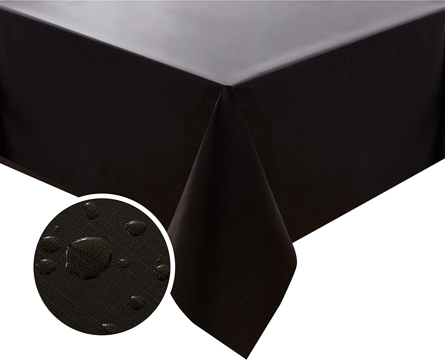 NLMUVW Rectangle Vinyl Tablecloth 100% Waterproof Oil Proof Spill Proof PVC Table Cloth Wipe Clean Table Cover for Kitchen Dining Picnic, 54 x 78 inch, Black