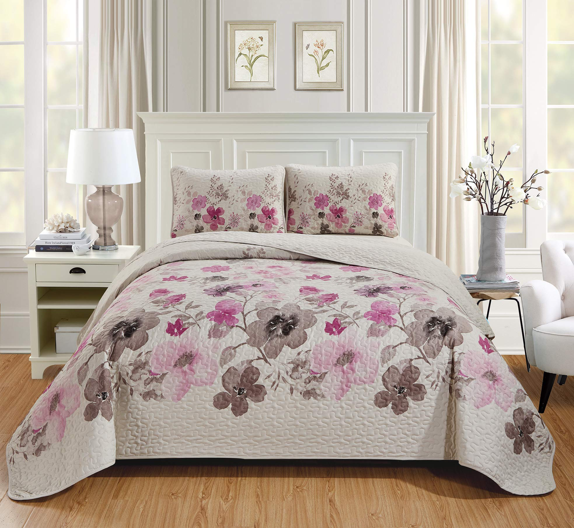Kids Zone Home Linen Purple Lily 2pc Twin/Twin Extra Long Over Size Bedspread with Beautiful Purple and Brown Flowers Print. by Kids Zone Home Linen