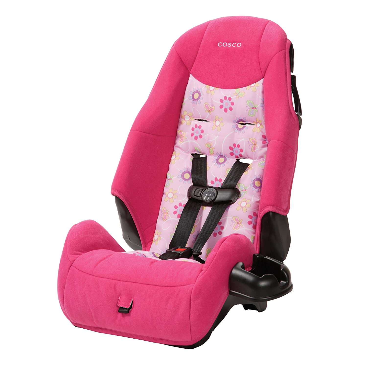 Cosco – Highback 2-in-1 Booster Car Seat – 5-Point Harness or Belt-positioning – Machine Washable Fabric, Pink Cosco Inc BC038ATU