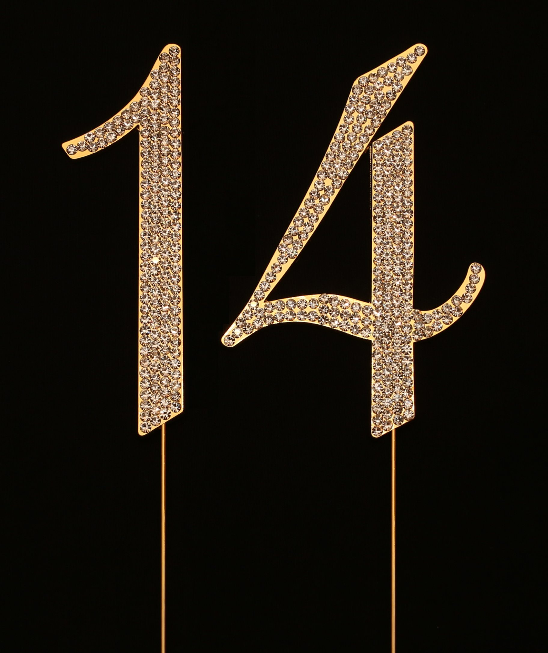 Numbrer 14 for 14th Birthday or Anniversary Cake Topper Party Decoration Supplies, Gold, 4.5 Inches Tall