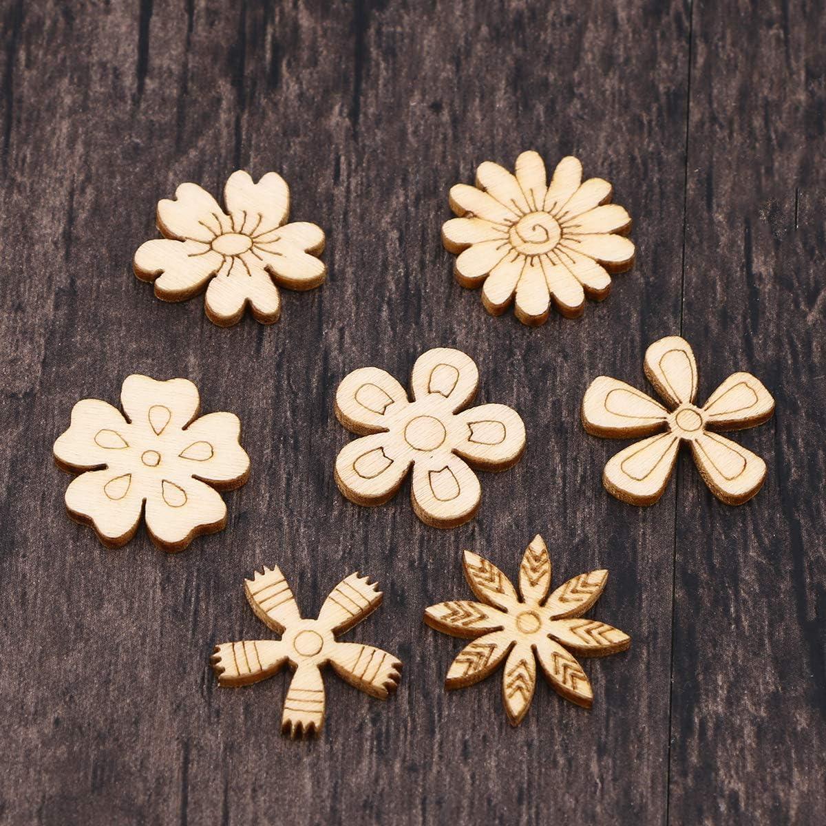 Burlywood Amosfun 100 Piezas Adorno de Madera en Forma de Flores Hojas Piezas de Madera para Scrapbooking Bricolaje