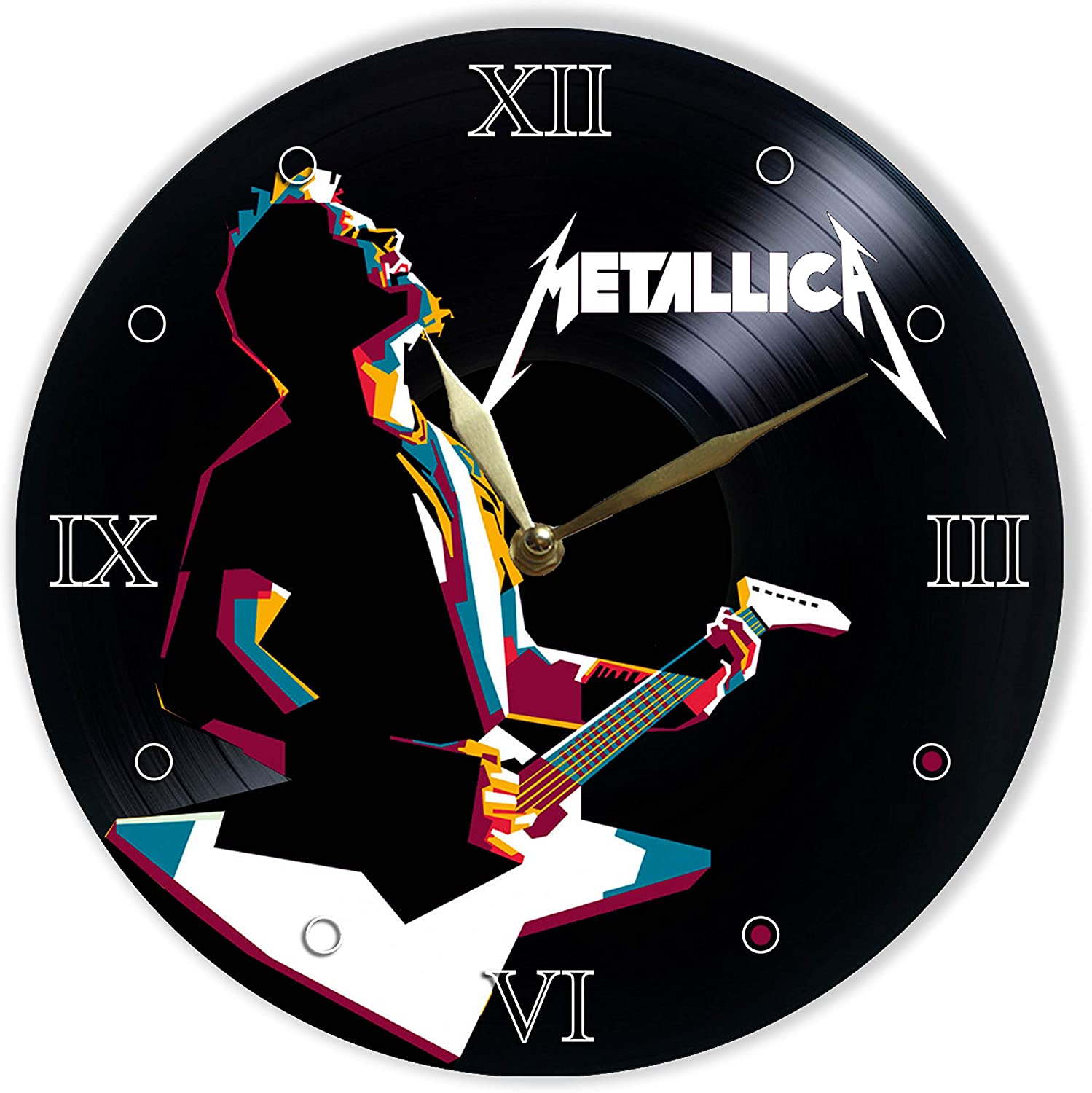 """Metallica Painted Vinyl Clock 12"""" - Wall Clock Metallica - Unique Gifts for Fans Metallica - Best Gift for Heavy Metal Music Lover - The Best Home Decor"""