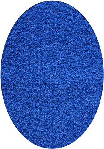 Ambiant Broadway Collection Solid Color Area Rugs with Rubber Marine Backing for Patio, Porch, Deck, Boat, Basement or Garage with Premium Bound Polyester Edges Blue 8 X10 Oval