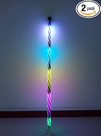 Sando 2PCS Flexible 4ft Dream Chasing Color LED Whip Lights Spiral Tube Blue-tooth Controlled