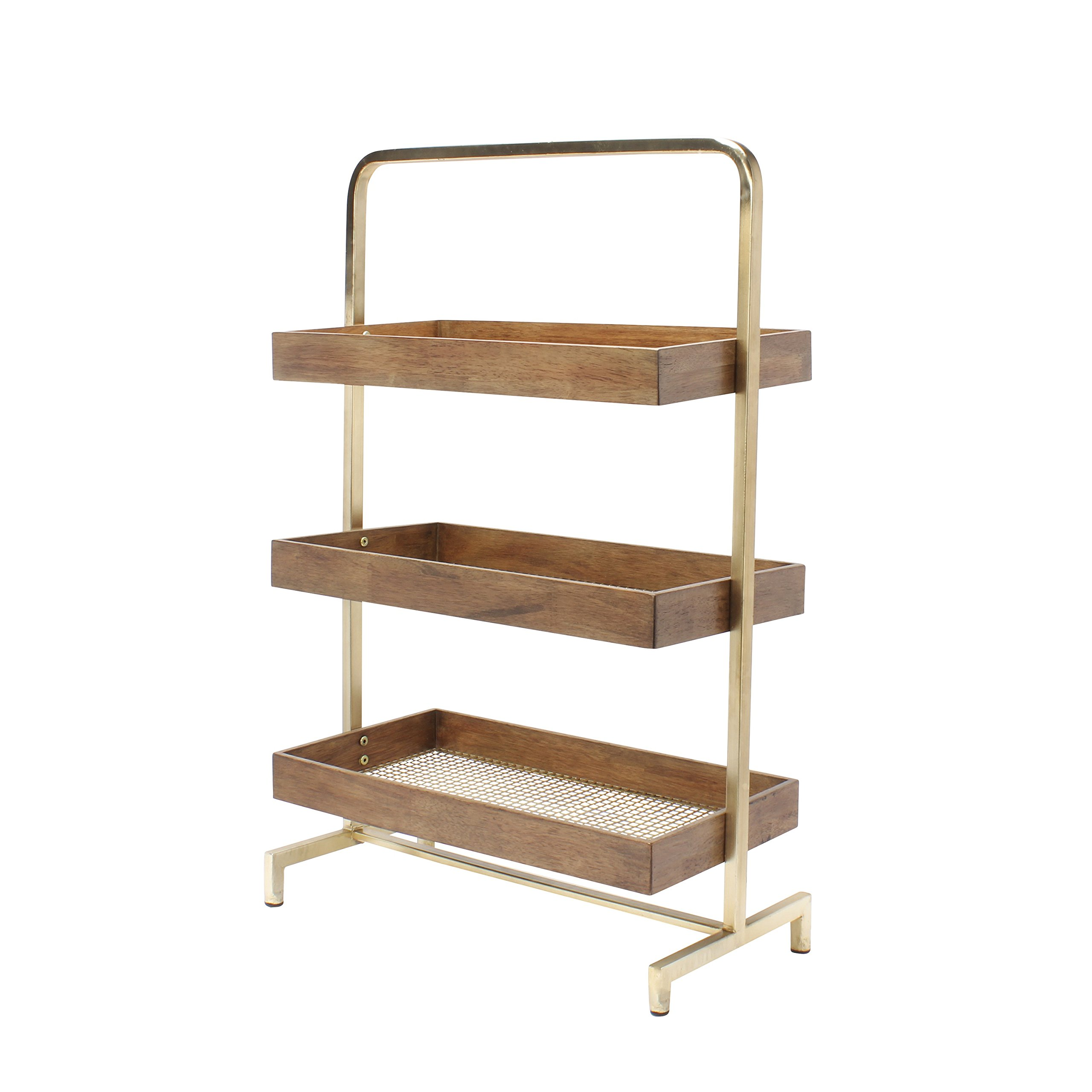 Kate and Laurel Hanne 3 Tray Free Standing Shelf, Walnut Wood and Perforated Gold
