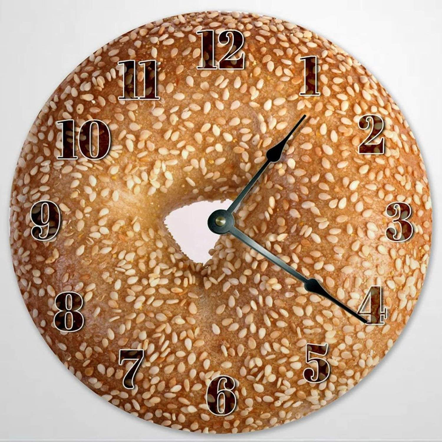 Sesame Bagel Wooden Wall Clock Silent Non Ticking Food Clock 12 Inch Battery Operated Round Easy to Read Kitchen Clock for Home Office School