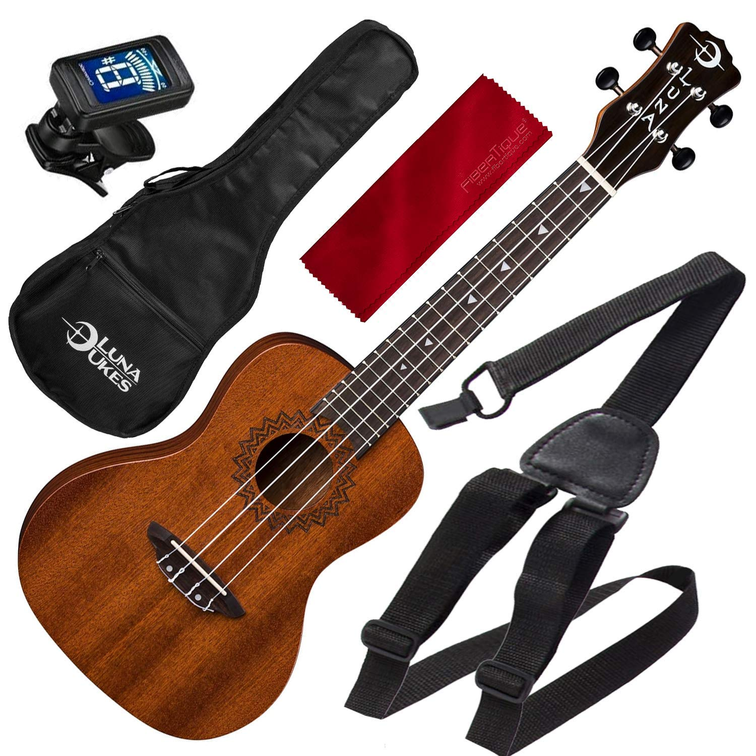 Luna Uke Vintage Mahogany Concert Acoustic Ukulele Pack with Ukulele Strap and Microfiber Cloth by Luna - Photo Savings