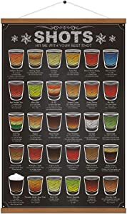 WEROUTE 30 Shots Mixology Canvas Print Poster Cocktail Recipes Infographic Drink Designed Bar Pub Themed Kitchen Home Wall Decor 15.7 X 27 Inch (with Hanger Scroll Frame)