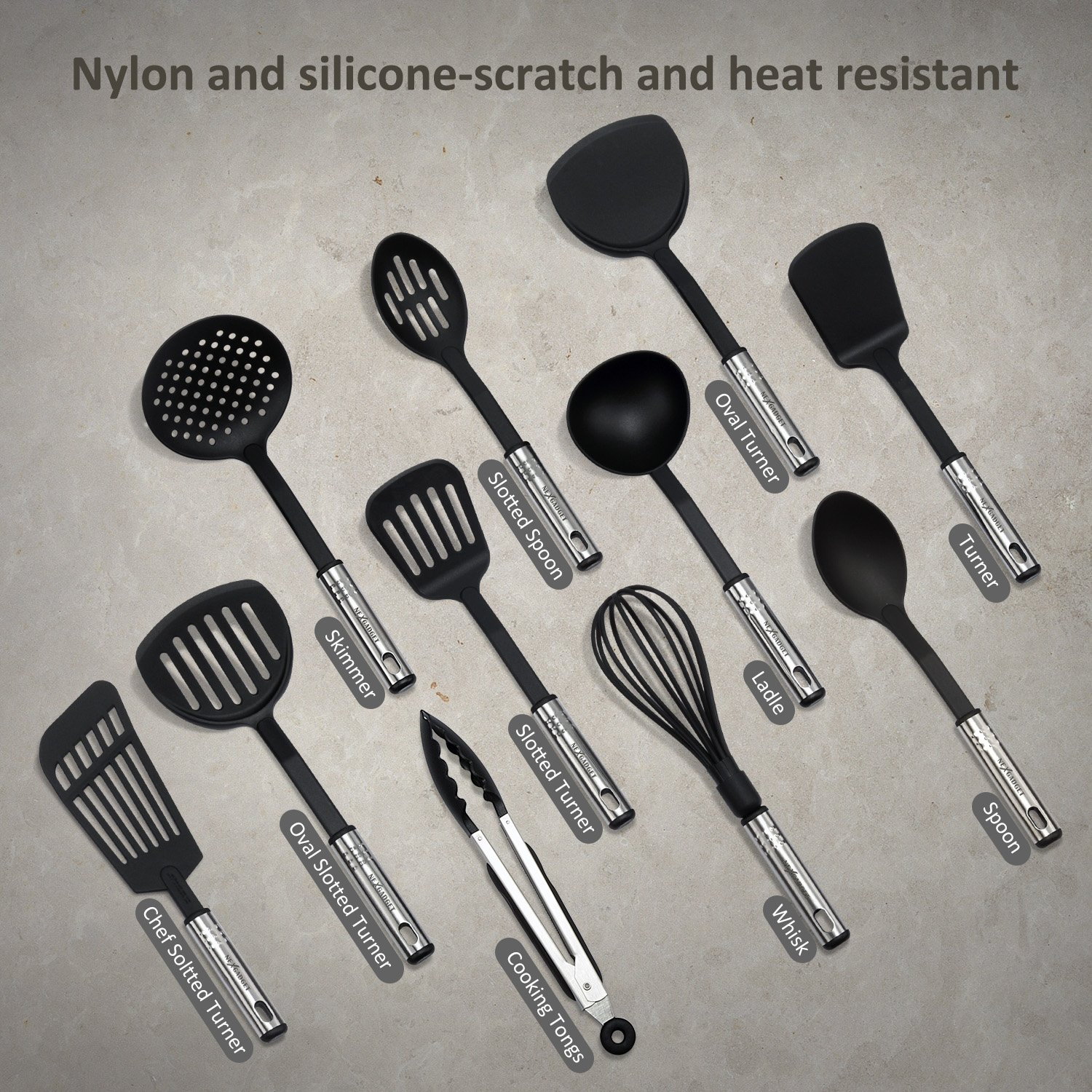 NexGadget Premium Kitchen Utensils 38 Pieces Kitchen Utensils Sets Stainless Steel And Nylon Cooking Tools Spoons, Turners, Tongs, Spatulas, Pizza Cutter, Whisk And More by NEXGADGET (Image #2)