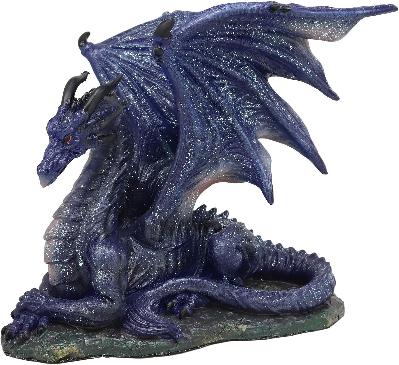 Ebros Fantasy Glitter Blue Midnight Dragon in Repose Statue 8