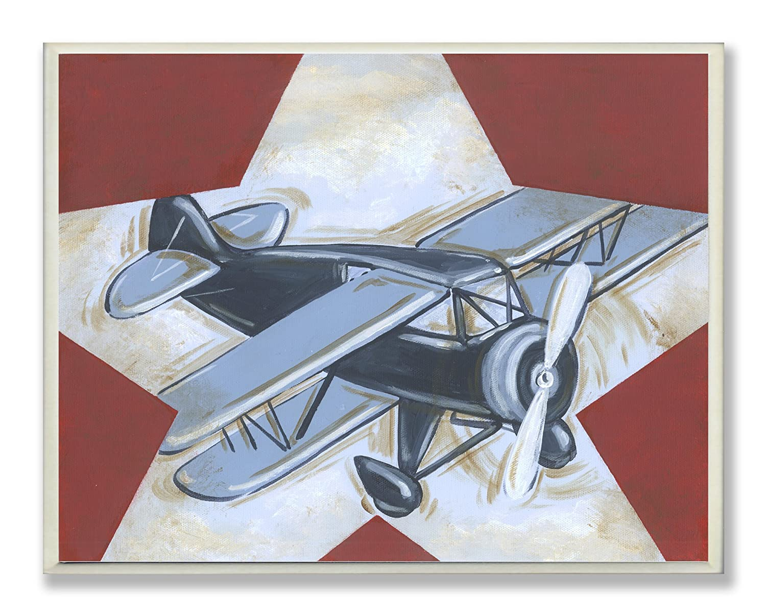 The Kids Room by Stupell Blue Plane on White Star and Red Background Rectangle Wall Plaque