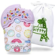 Giftty Baby Teething Mitten, Teether Mitten for Baby,Like Teething Toys or Teething Ring, Self-Soothing Toy by, Baby Shower Gift with Handy Travel Bag (1 Mitt, Purple)
