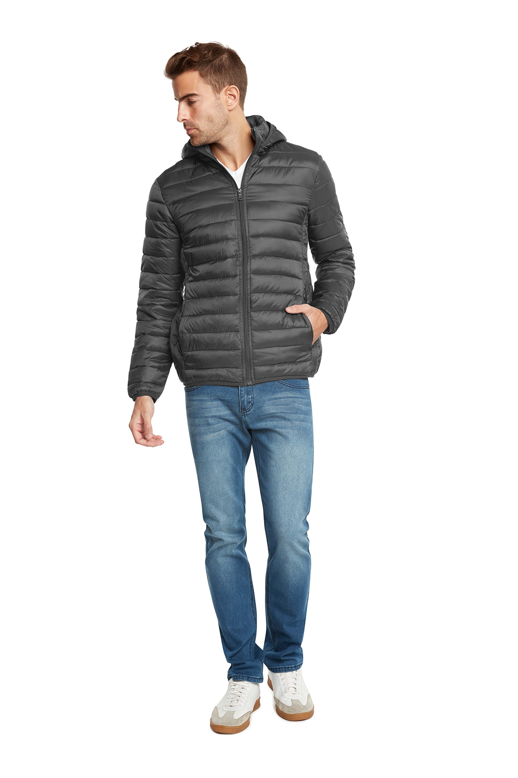 9 Crowns Essentials Men's Lightweight Puffer Jacket-Gray-Small by 9 Crowns