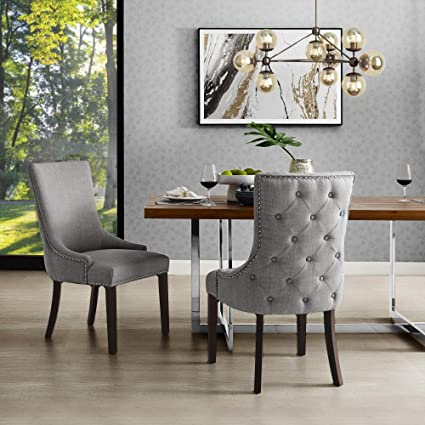 Fabulous Inspiredhome Light Grey Linen Dining Chair Design Oscar Set Of 2 Back Tufted Nailhead Trim Finish Bralicious Painted Fabric Chair Ideas Braliciousco