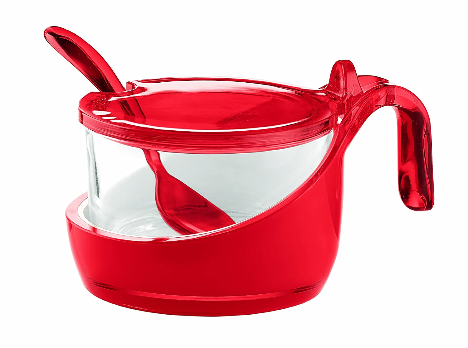 Guzzini Transparent Red Vintage Parmesan Server/Sugar Bowl with Teaspoon MAJESTIC GIFTS INC. GU-2489.00-65