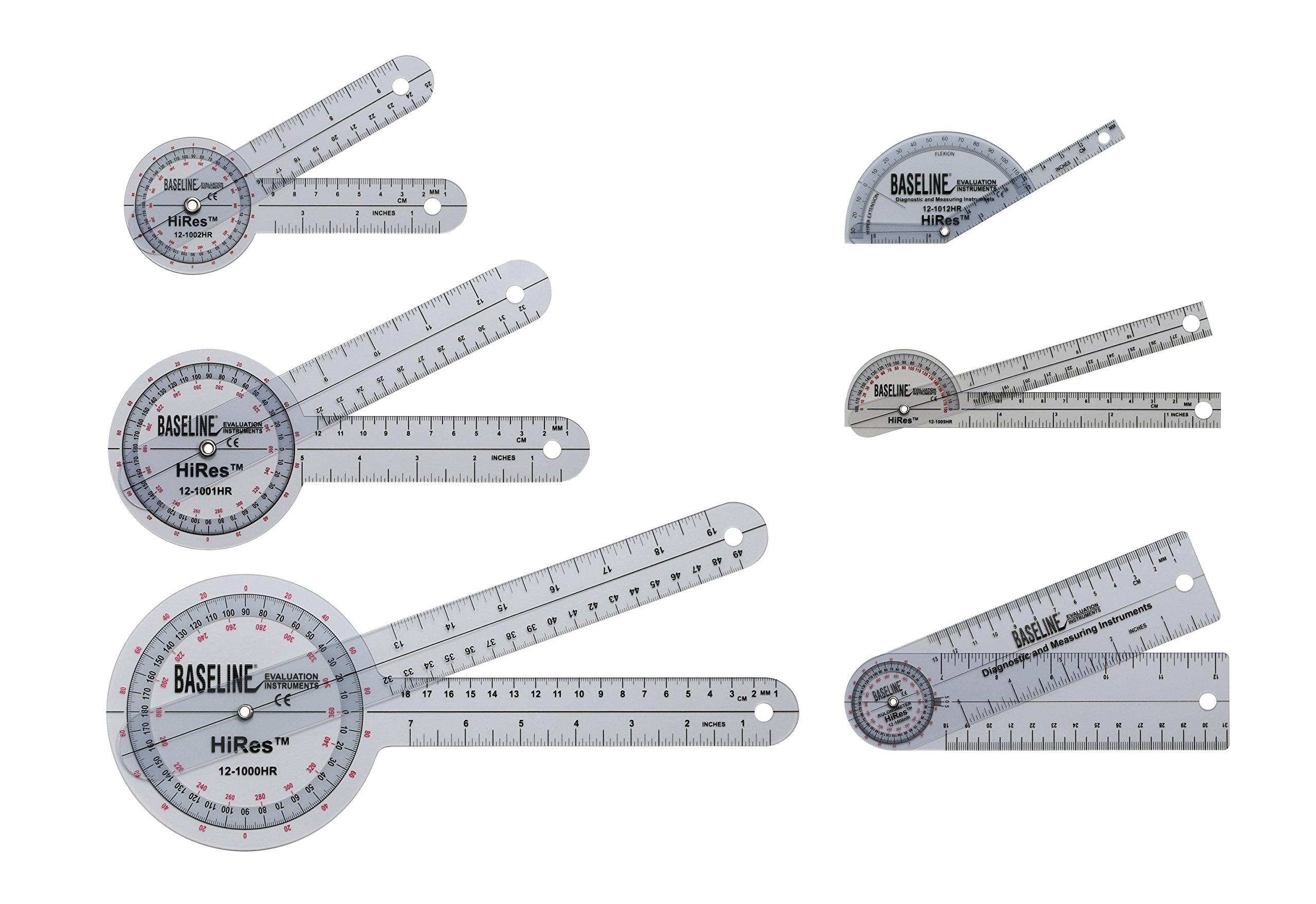 Baseline 12-1028HR Plastic Goniometer, Hires, 6-piece Set product image