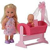 Simba 105736242 - Evi Love Puppe mit Puppenwiege und Baby, 2-sort.