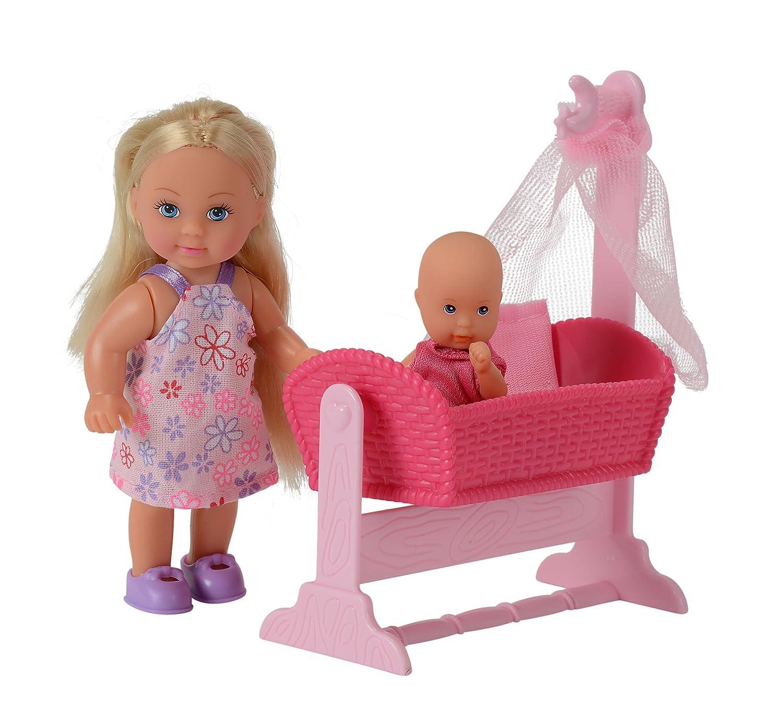 SIMBA 105736242 Evi Love - Muñeca Evi, bebé, cuna y accesorios Simba Toys 1.05736E+11