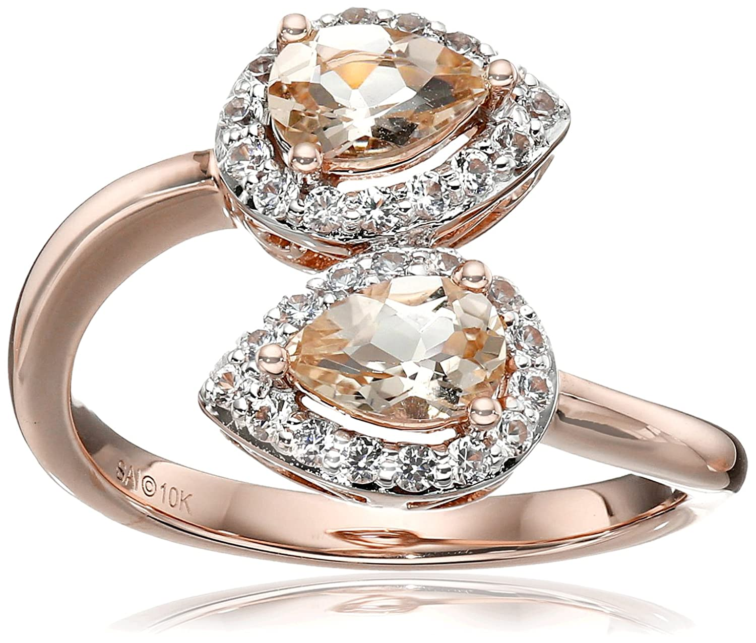 10k Pink Gold Morganite and Created White Sapphire Pear Ring, Size 7