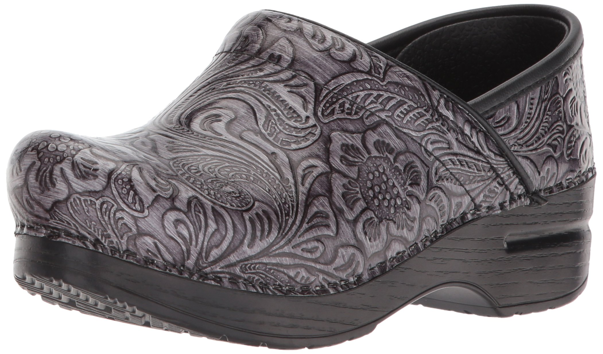 Dansko Women's Professional Clog, Grey Tooled Patent, 38 M EU (7.5-8 US)