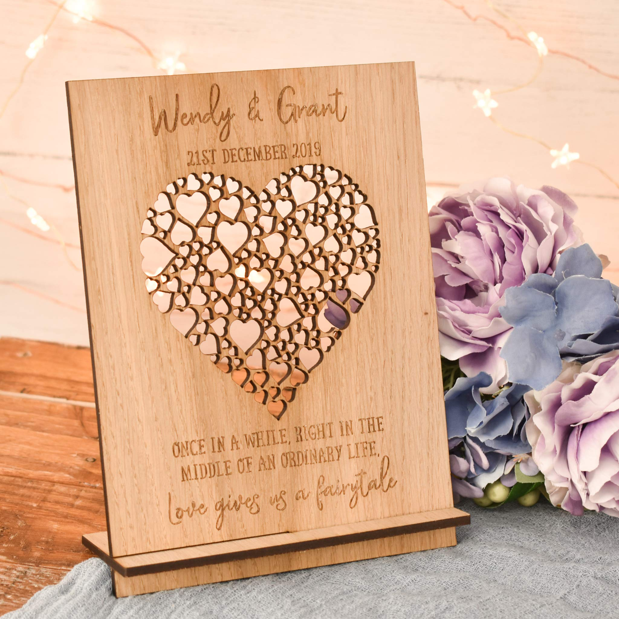 Couple Bride Groom Him Her Heart Keepsake Personalised Wedding Gift Present