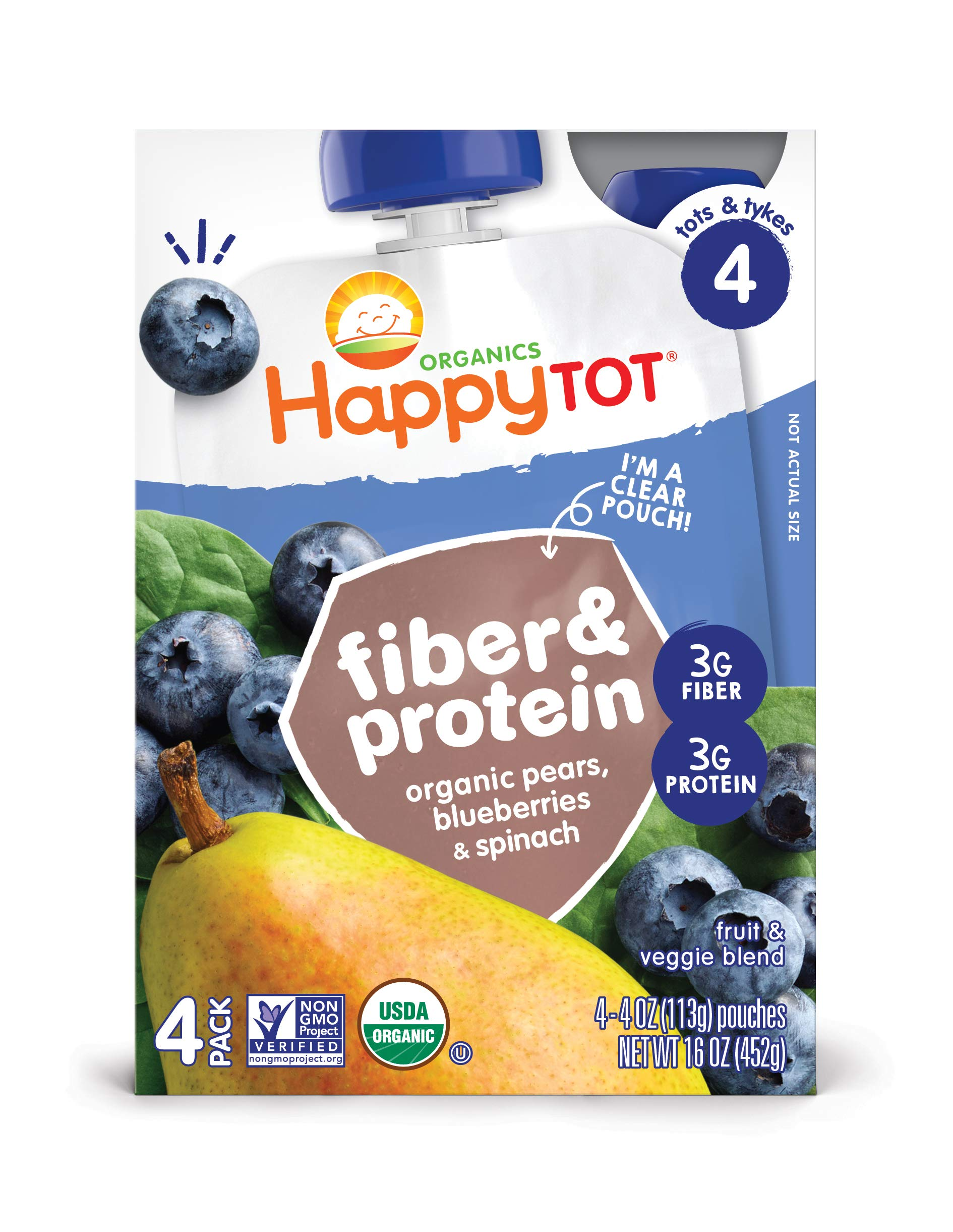 Happy Tot Organic Stage 4 Fiber & Protein, Pears, Blueberries & Spinach, 4 Ounce (Pack of 16) by Happy Baby (Image #7)