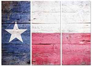 Texas State Flag Canvas Wall Art Decor - 16x36 3 Piece Set (Total 36x48 inch)- Large Decorative & Modern Multi Panel Split Prints - Rustic Wood Look for Dining & Living Room, Kitchen, Bedroom & Office